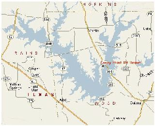 Lake Fork map and location of Caney Point RV Resort